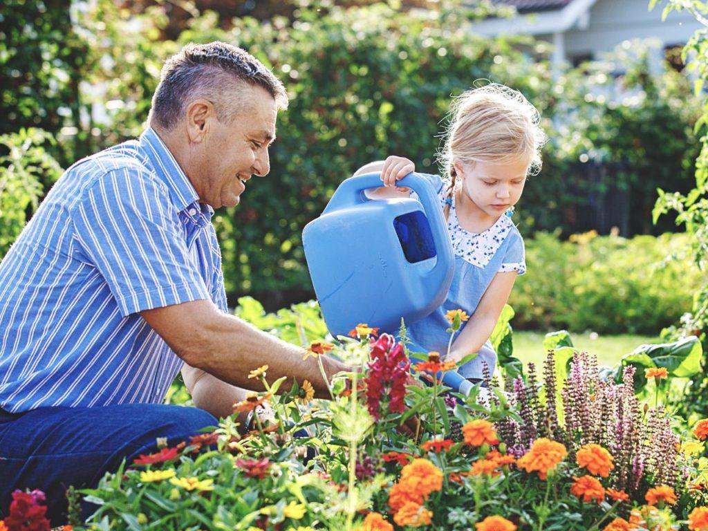 мужчина девочка полив сад клумба цветы Простые правила полива растений